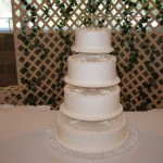 4 Tier Swiss Dot Design All White
