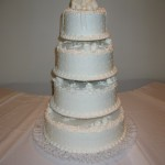 4 Tier Swiss Dot With Gumpaste Bow