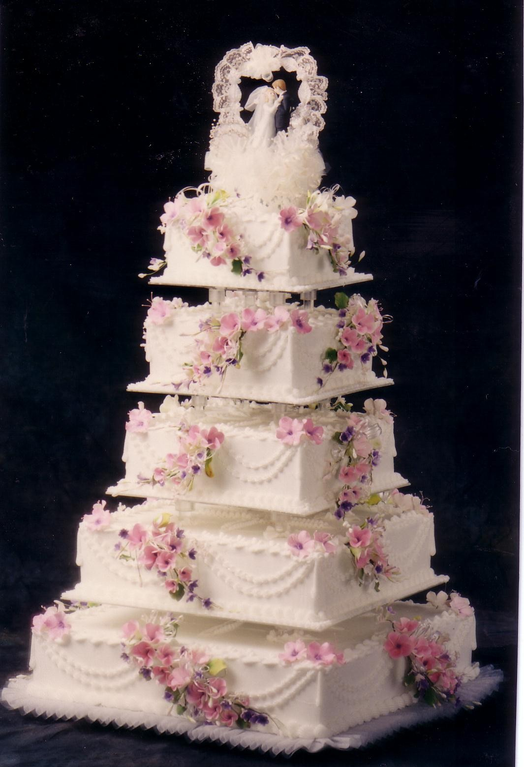 Square Five Tier Fondant Custom Wedding Cake Pictures And Ideas