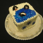7 inch Square Penguin Scene